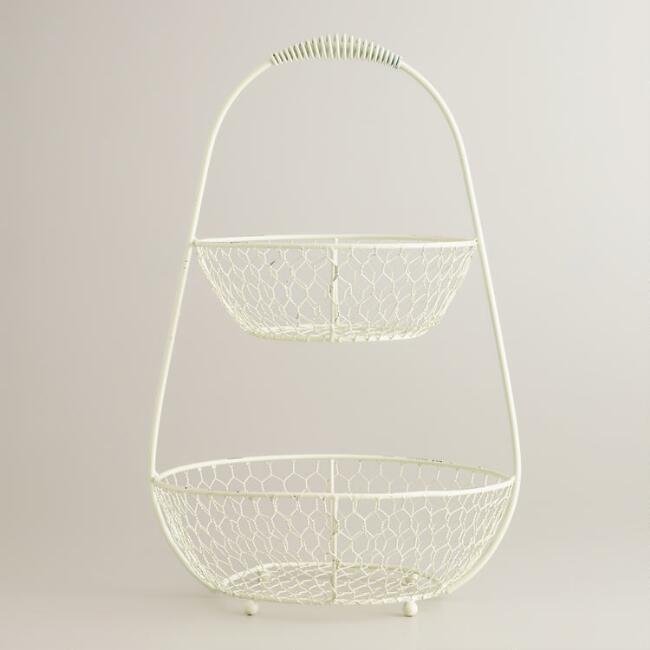 Antique White 2-Tier Wire Basket | World Market