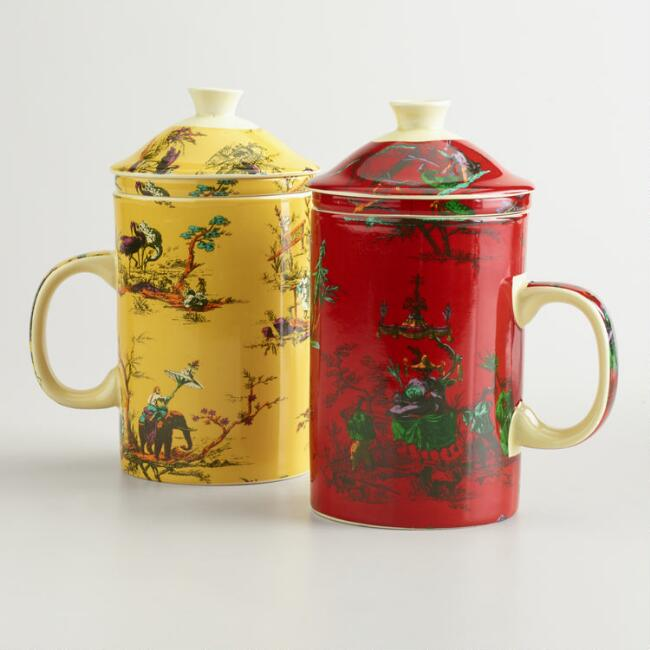 Chinois Toile Infuser Mugs, Set of 2