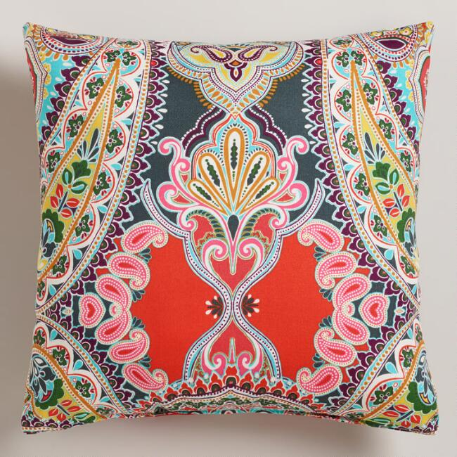 Warm Venice Paisley Outdoor Throw Pillow