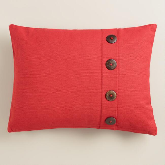 Baked Apple Ribbed Lumbar Pillow with Buttons