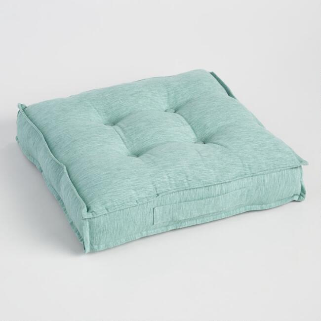 Chinois Aqua Khadi Tufted Floor Cushion