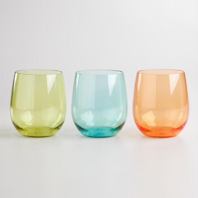Colored Acrylic Stemless Tumblers, Set of 3