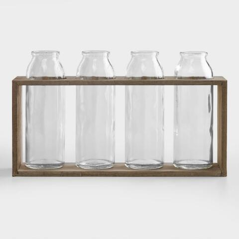 6 Bottle Vases With Wood Holder Set Of 4 World Market