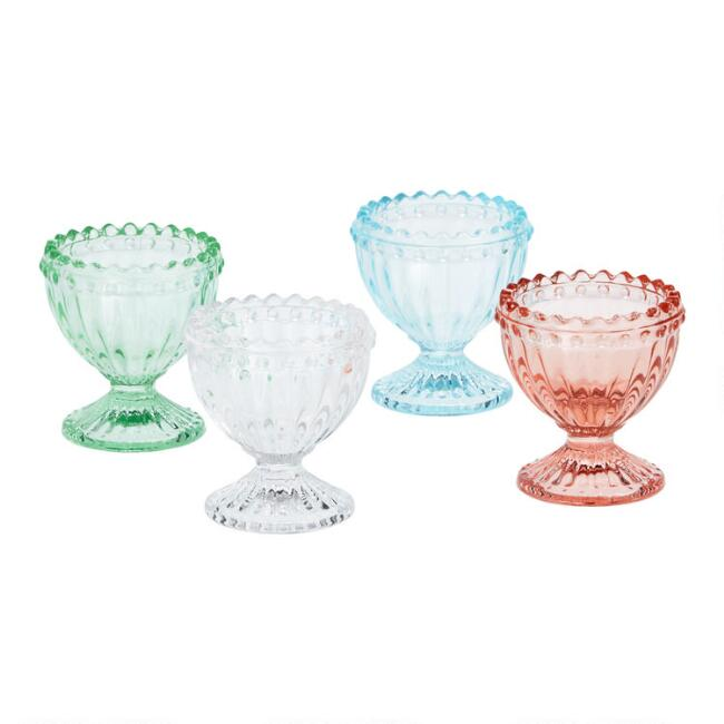 Fluted Glass Egg Cup Set of 4