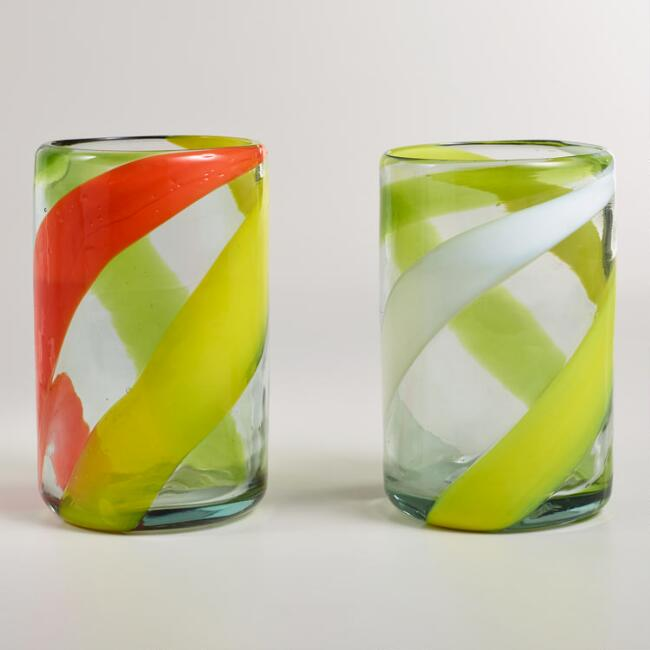 Warm-Toned Swirl Tumblers, Set of 2