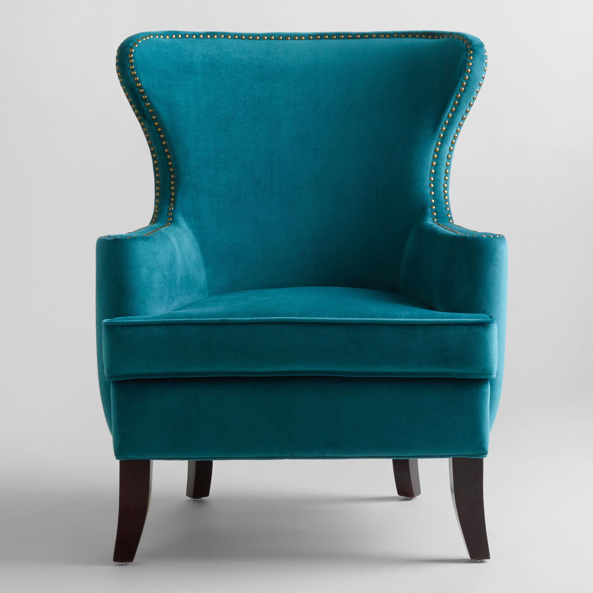 Teal Chair Pacific Blue Elliott Wingback Chair World Market