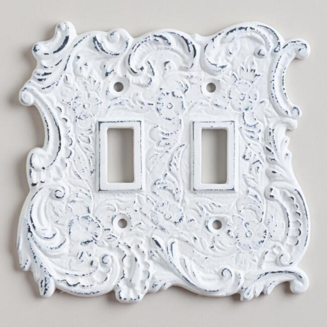 White Cast Iron Double Switch Plate
