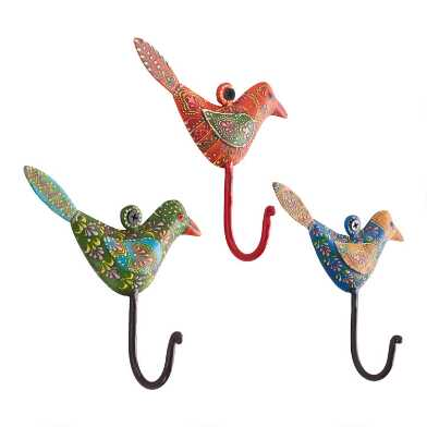 Spring Birds Hooks Set of 3