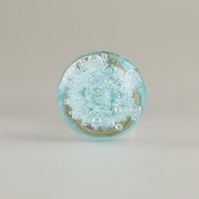 Small Light Blue Glass Bubble Knobs, Set of 2