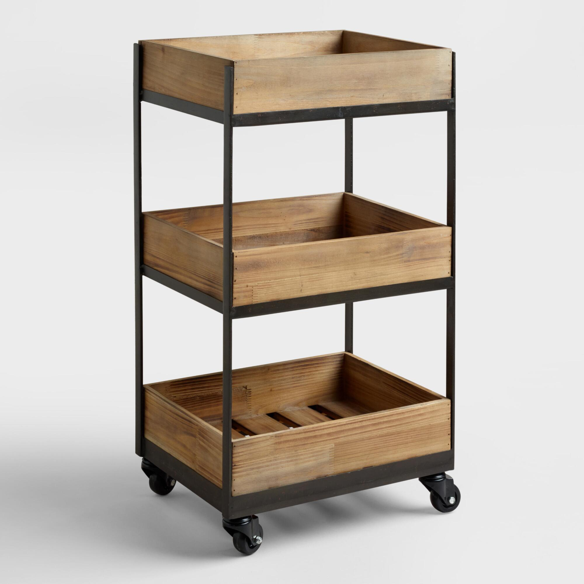 3 shelf wooden gavin rolling cart