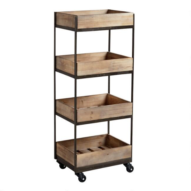 4-Shelf Wooden Gavin Rolling Cart