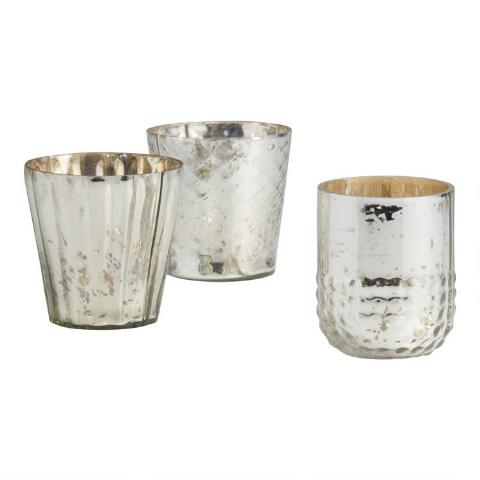 d6193b83a8 Silver Mercury Glass Votive Candleholders, Set of 3. Previous. v2. v1