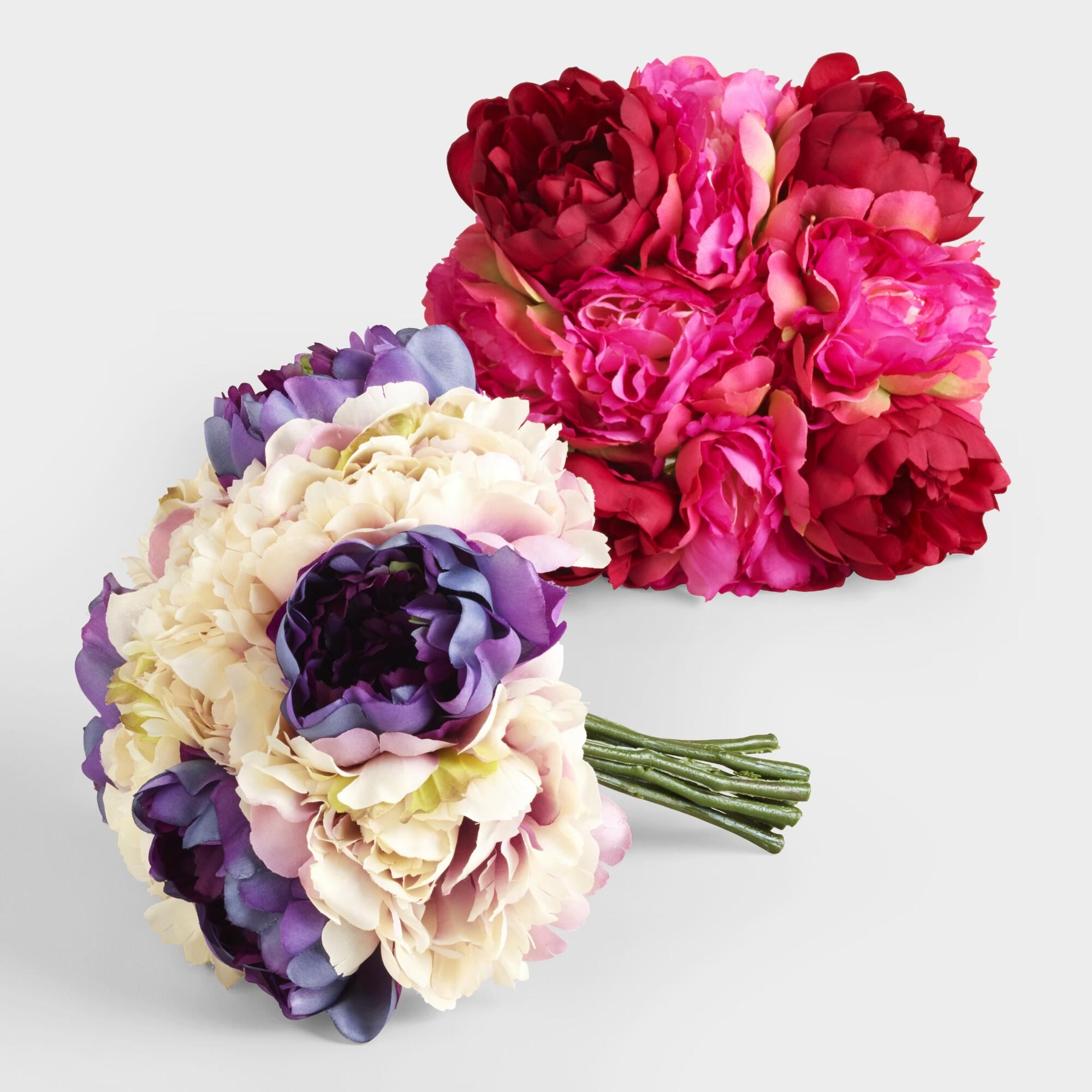 Multicolored Peony Bunches, Set of 2: Pink by World Market