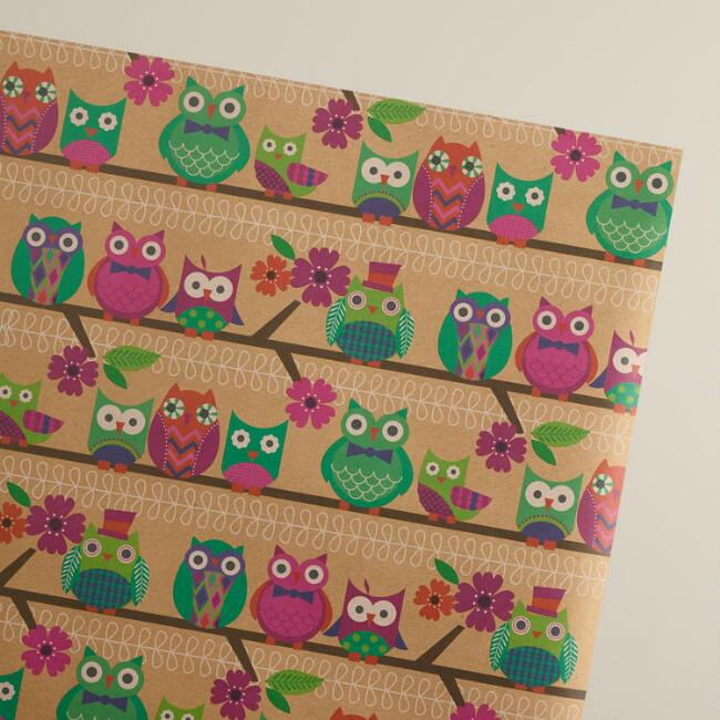 Spring Owls Wrapping Paper Roll
