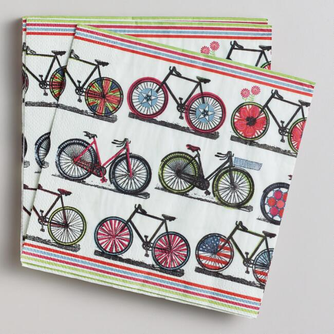 Spring Bicycles Lunch Napkins, 16-Count