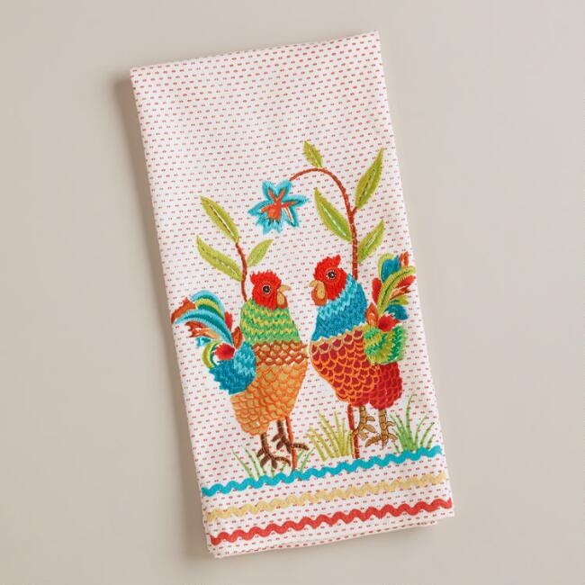 Two Roosters Tea Towel