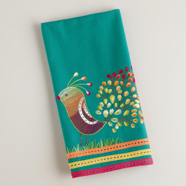 Teal Peacock Tea Towel