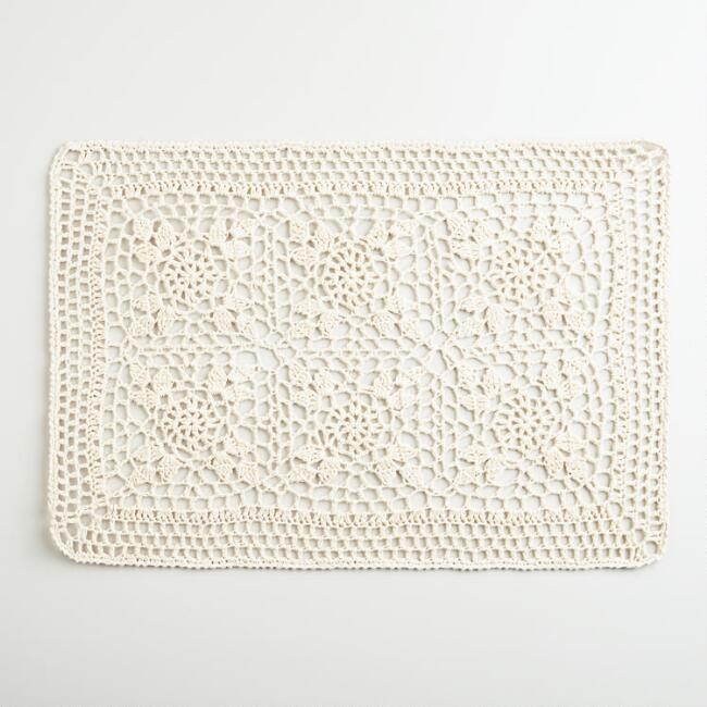 Ecru Cotton Crochet Placemats, Set of 4