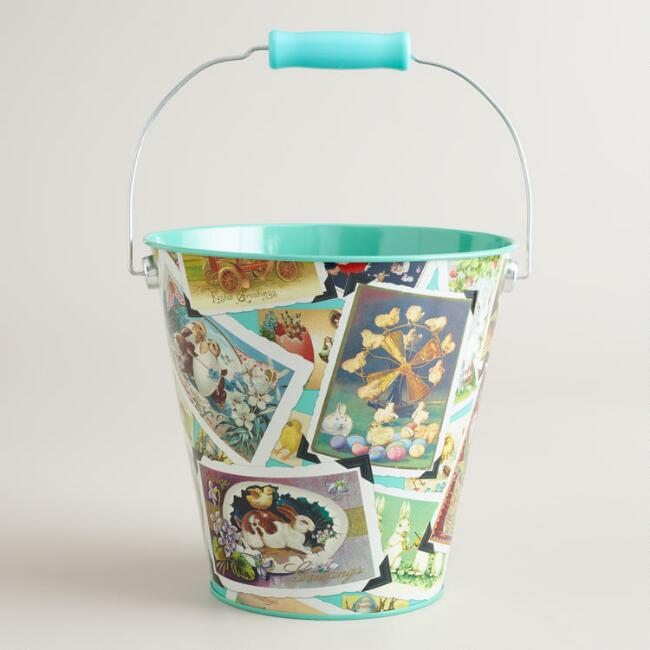 Vintage-Inspired Easter Art Tin Pail