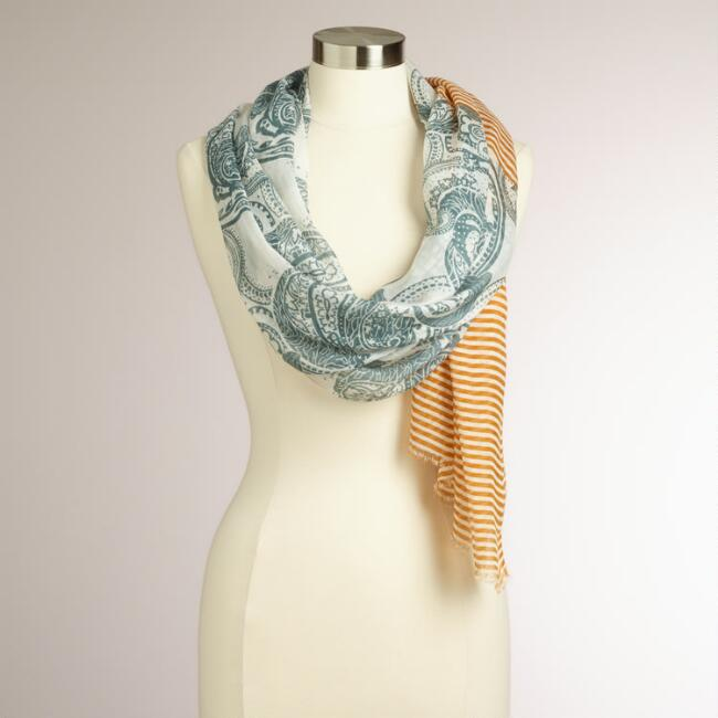 Mustard and Gray Striped Floral Scarf