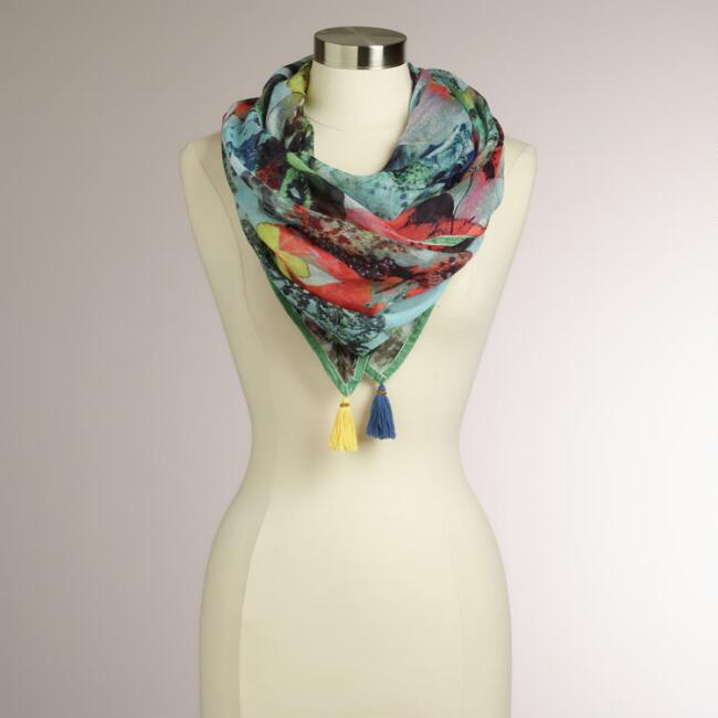 Floral Bird Square Scarf with Velvet Trim