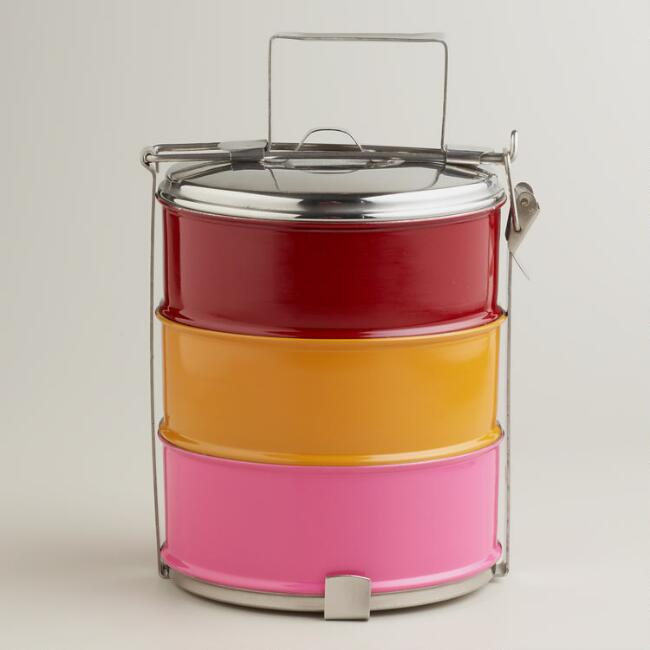 Warm Stainless Steel 3-Tier Tiffin Lunchbox