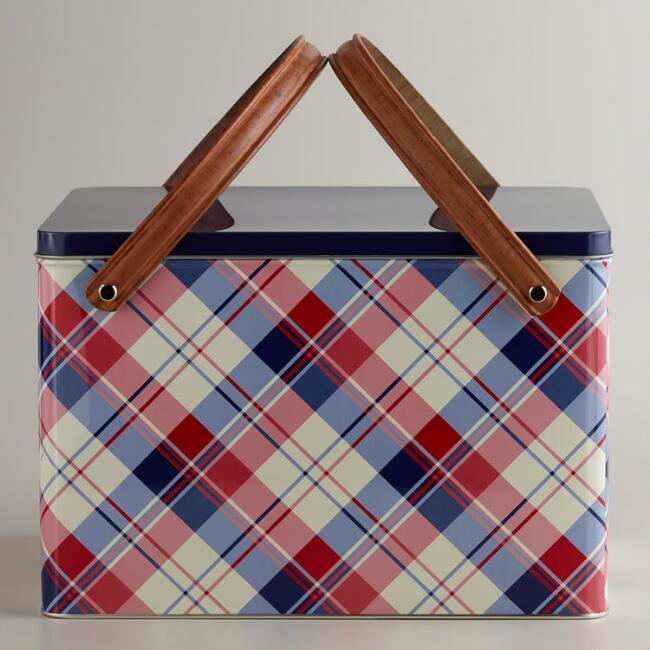 Plaid Metal Picnic Basket