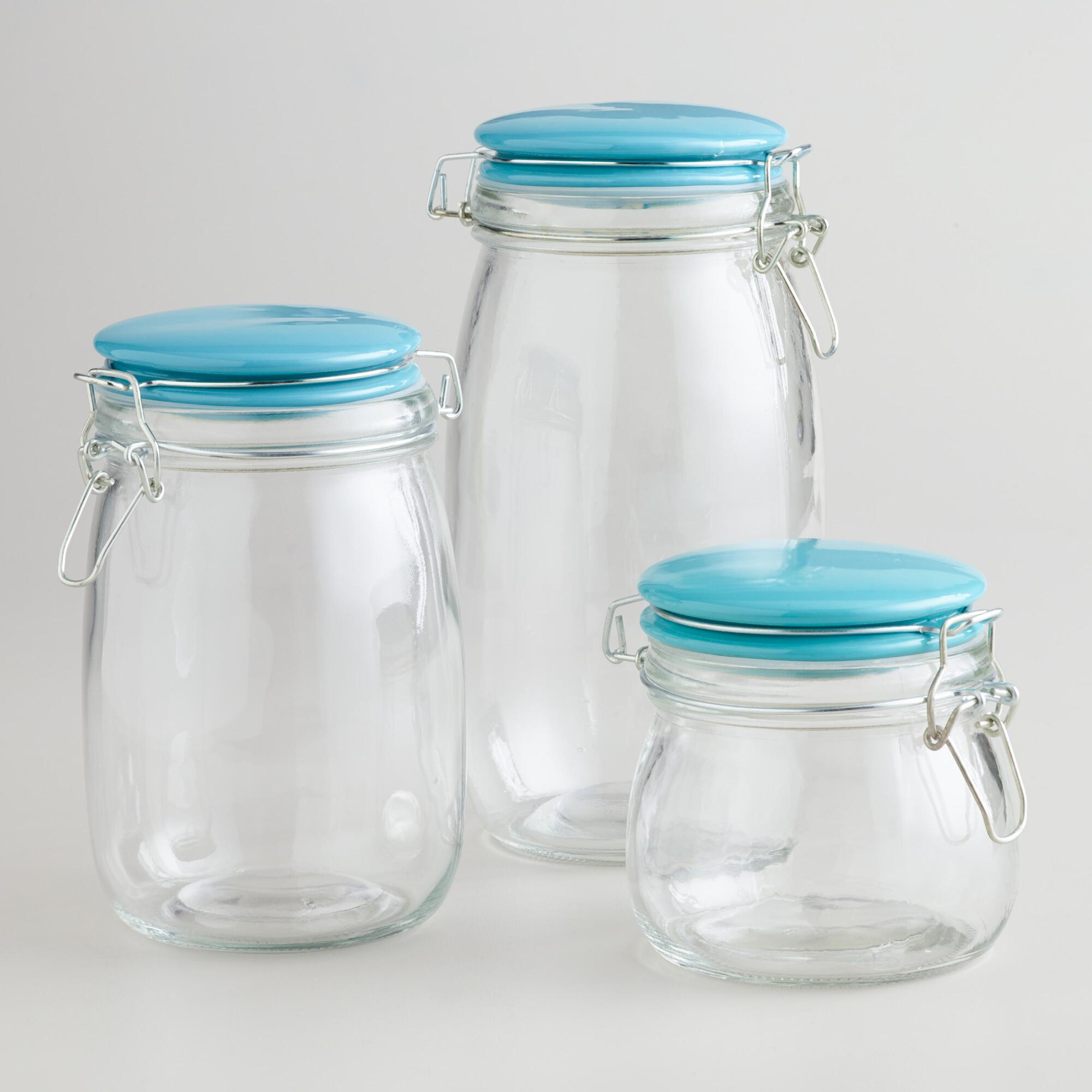 kitchen glass canisters with lids glass canisters with aqua cl lids world market 4325