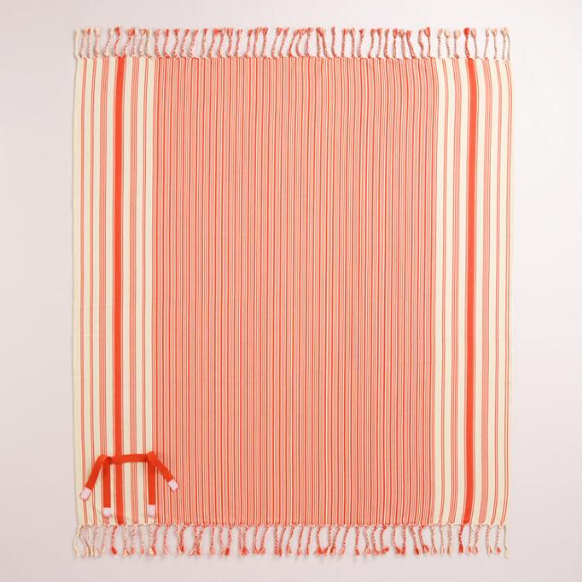Spicy Orange Stripe Picnic Blanket