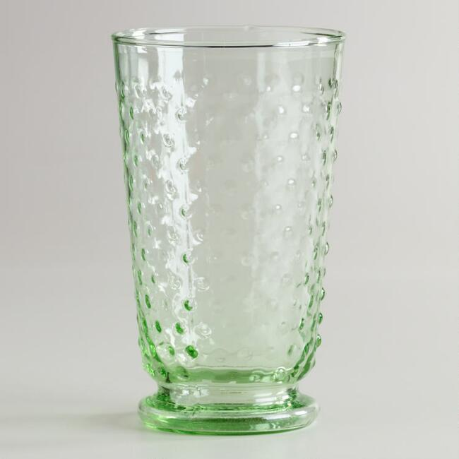 Green Hobnail Highball Fashioned Glasses, Set of 4