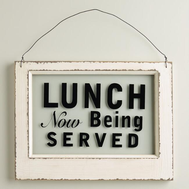 Wood and Glass Lunch Sign