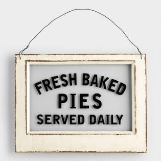 wood and glass pie sign - Kitchen Wall Art