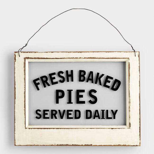 Wood And Glass Fresh Baked Pie Sign