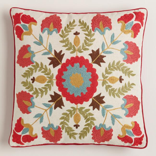 Red Suzani Embroidered Throw Pillow