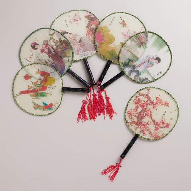 Mini China Beauty Fans, Set of 6