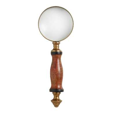 Mini Wood and Brass Magnifying Glass