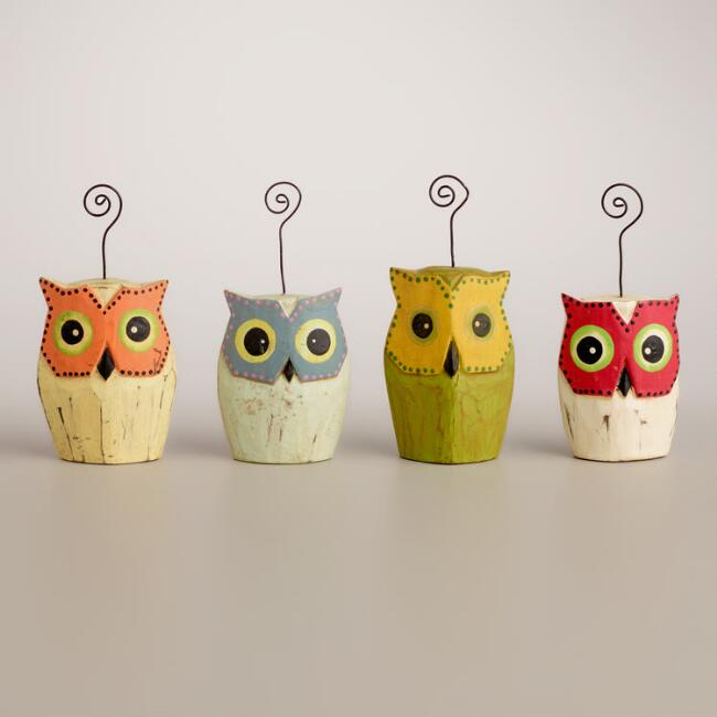 Standing Owl Cardholders, Set of 4