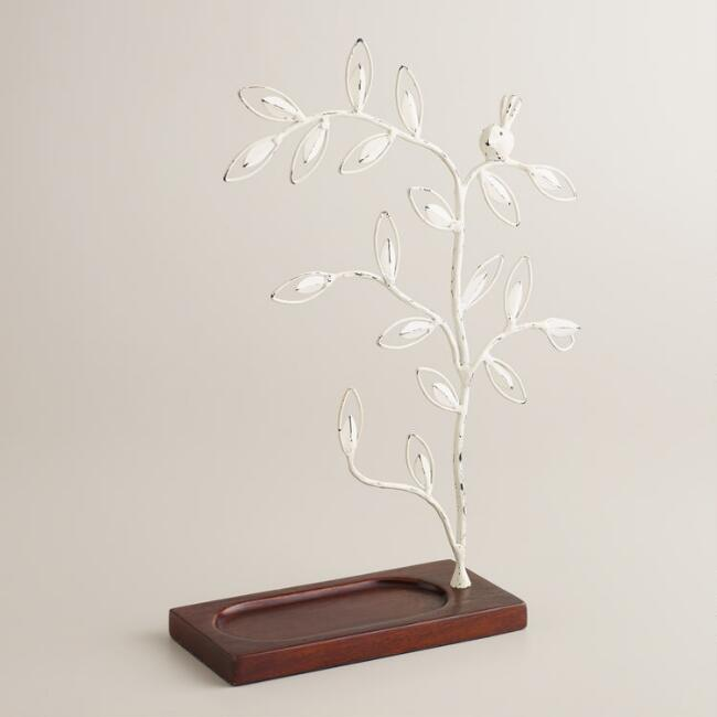 White Tree Wooden Base Jewelry Stand