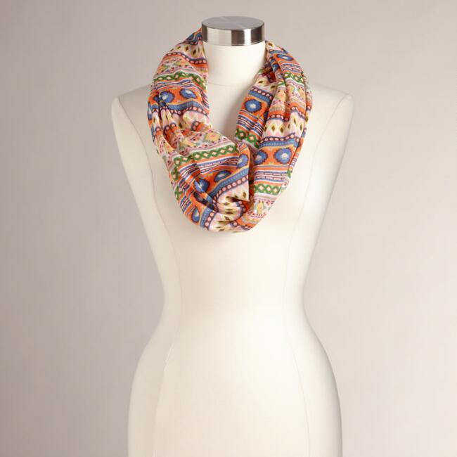 Yellow Tribal Infinity Scarf
