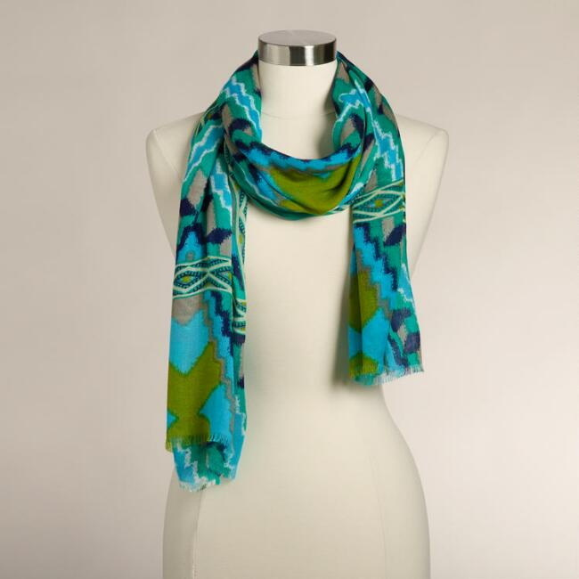 Blue and Lime Ikat Scarf