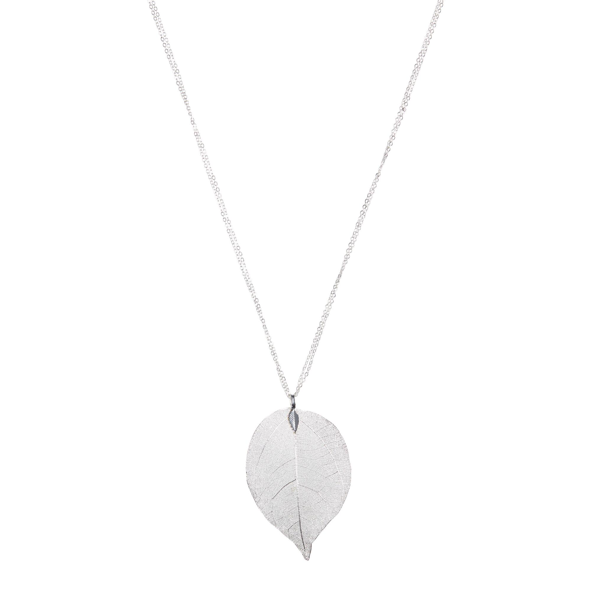 Silver leaf pendant necklace world market aloadofball Image collections