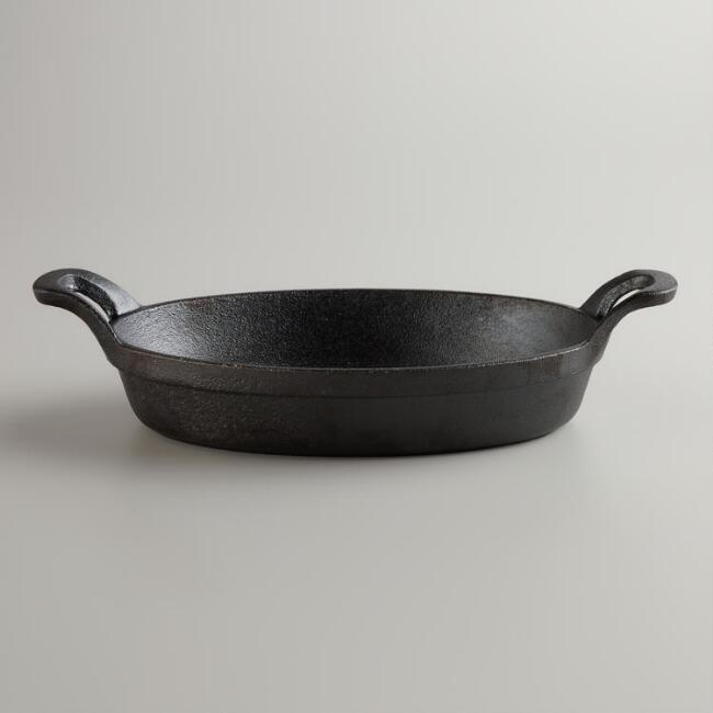 Cast Iron Oval Double-Handled Dish