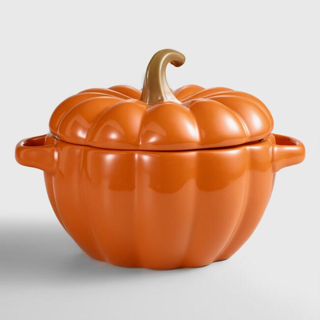 Orange Ceramic Pumpkin Casserole Baker