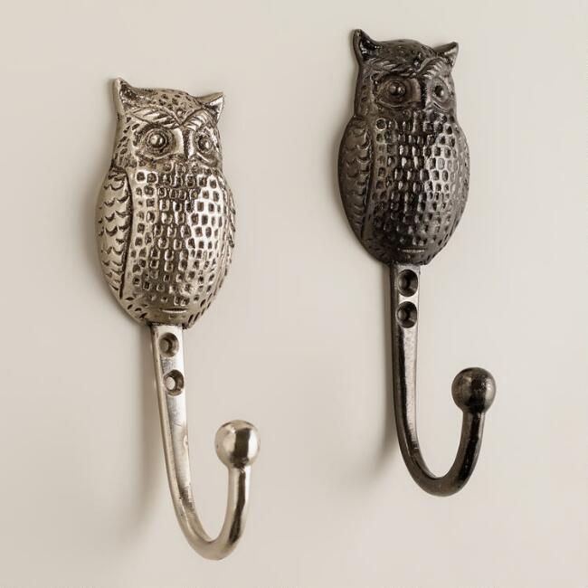 Metal Owl Hooks, Set of 2