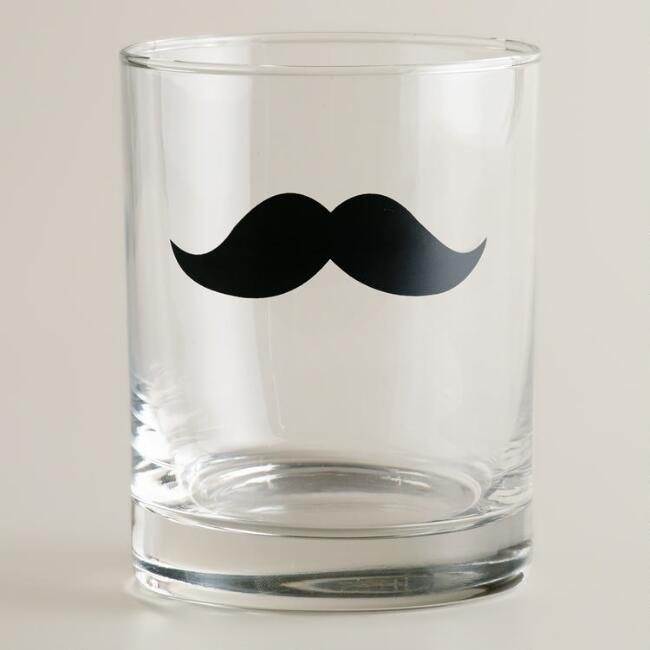 Mustache Double Old Fashioned Glasses, Set of 2