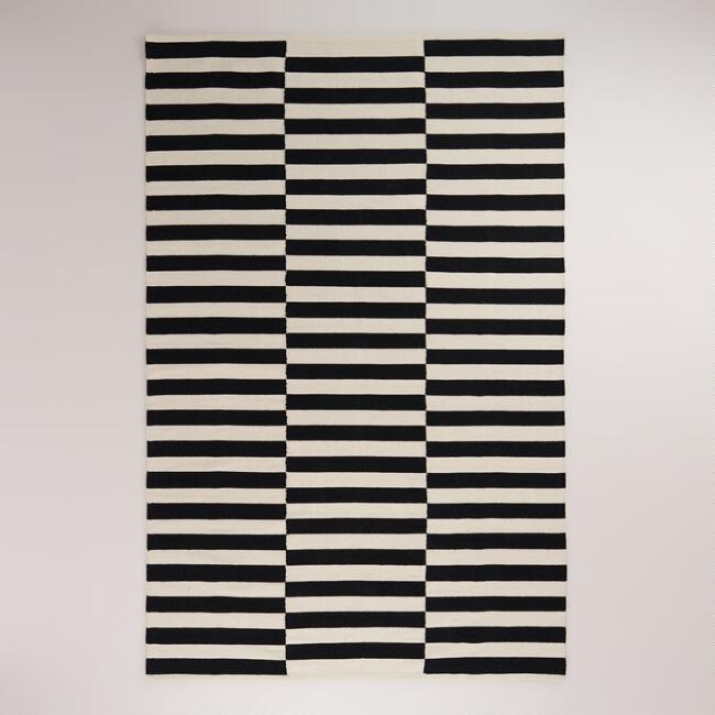 Black and Cream Striped Dhurrie Rug
