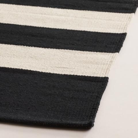 Black And Cream Striped Dhurrie Rug Previous V2