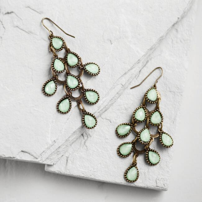 Mint Tiered Chandelier Earrings