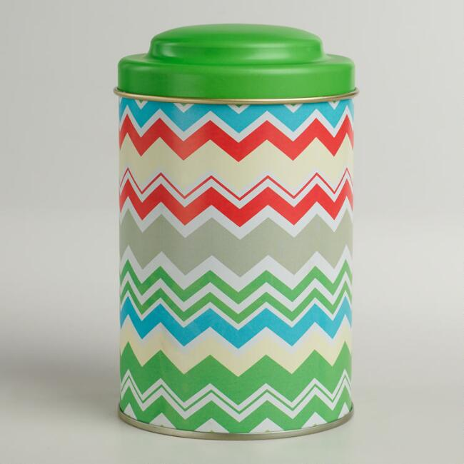 Chevron Stripe Tea Tin