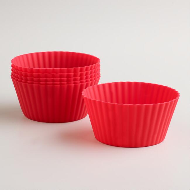 Large Red Silicone Muffin Cups, Set of 6